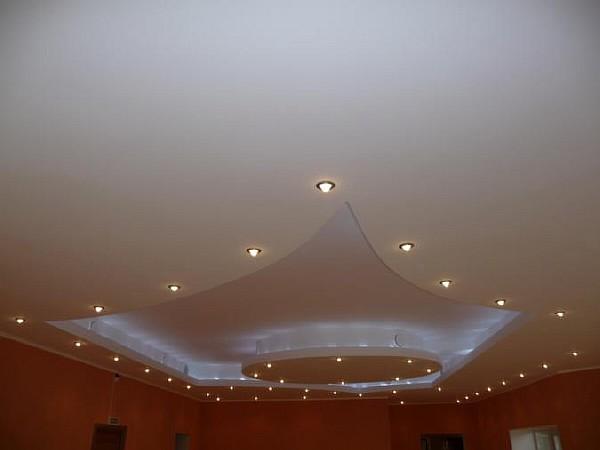 Дизайн потолков из гипсокартона в зал фото